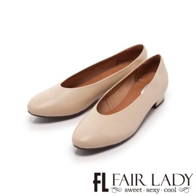 Fair Lady 素面小圓頭低跟奶奶鞋 香草