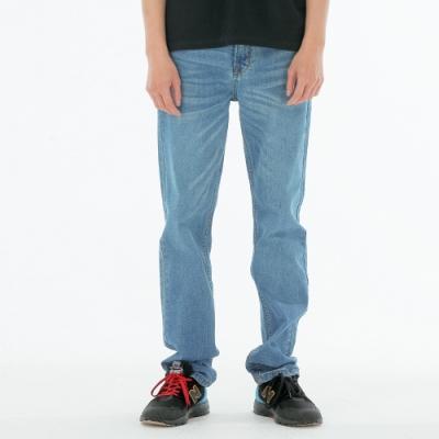 BIG TRAIN 舒適高彈中藍水洗直筒褲-男-中藍