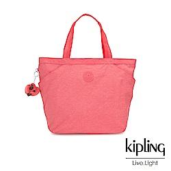 Kipling 甜美蜜桃橘素面手提大容量托特包-AGGIE