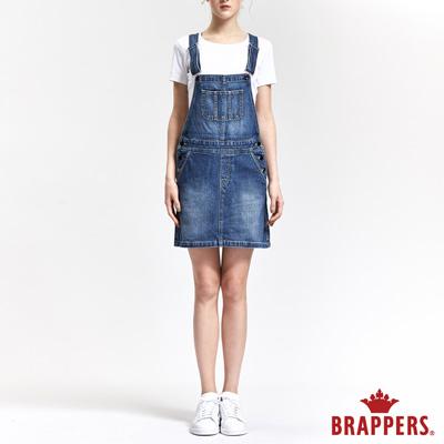 BRAPPERS 女款 Boy friend 系列-女用膝上吊帶裙-深藍