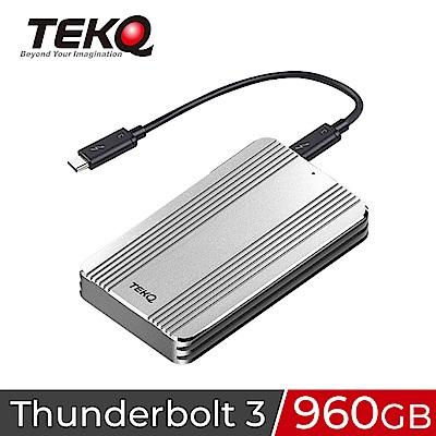 TEKQ Rapide Thunderbolt3 960G外接式TLC SSD行動硬碟-銀