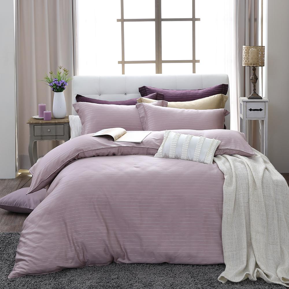 LASOL睡眠屋-100%奧地利天絲 雙人兩用被床包四件組自然純色夢幻紫