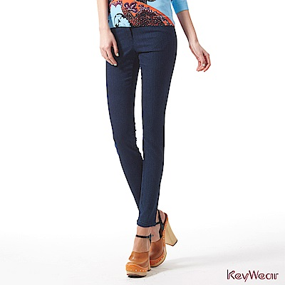 KeyWear奇威名品    精選韓國進口素材舒適修身九分褲-深藍色