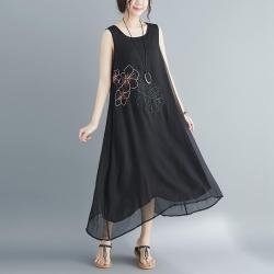 緹花雙層網紗飄逸打擺A字裙背心洋裝M-2XL(共三色)-Keer