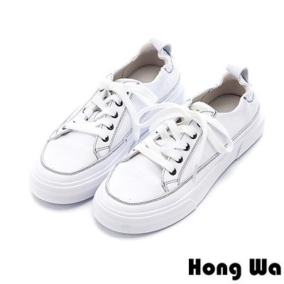 Hong Wa 簡約設計綁帶牛皮小白鞋 - 白