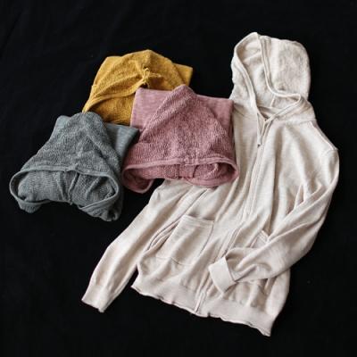 寬鬆連帽針織開衫薄版長袖外套-設計所在