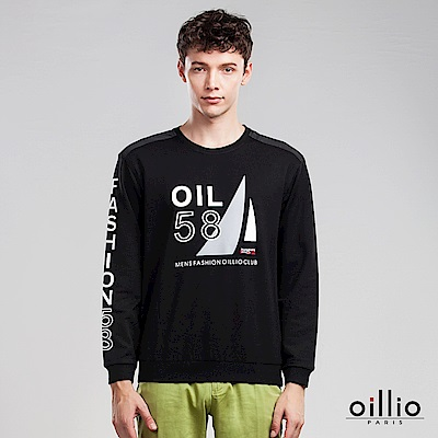 歐洲貴族 oillio 長袖T恤 OIL印花 袖子文字印花 黑色