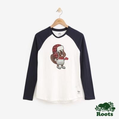 Roots 女裝-可愛海狸棒球T恤-白