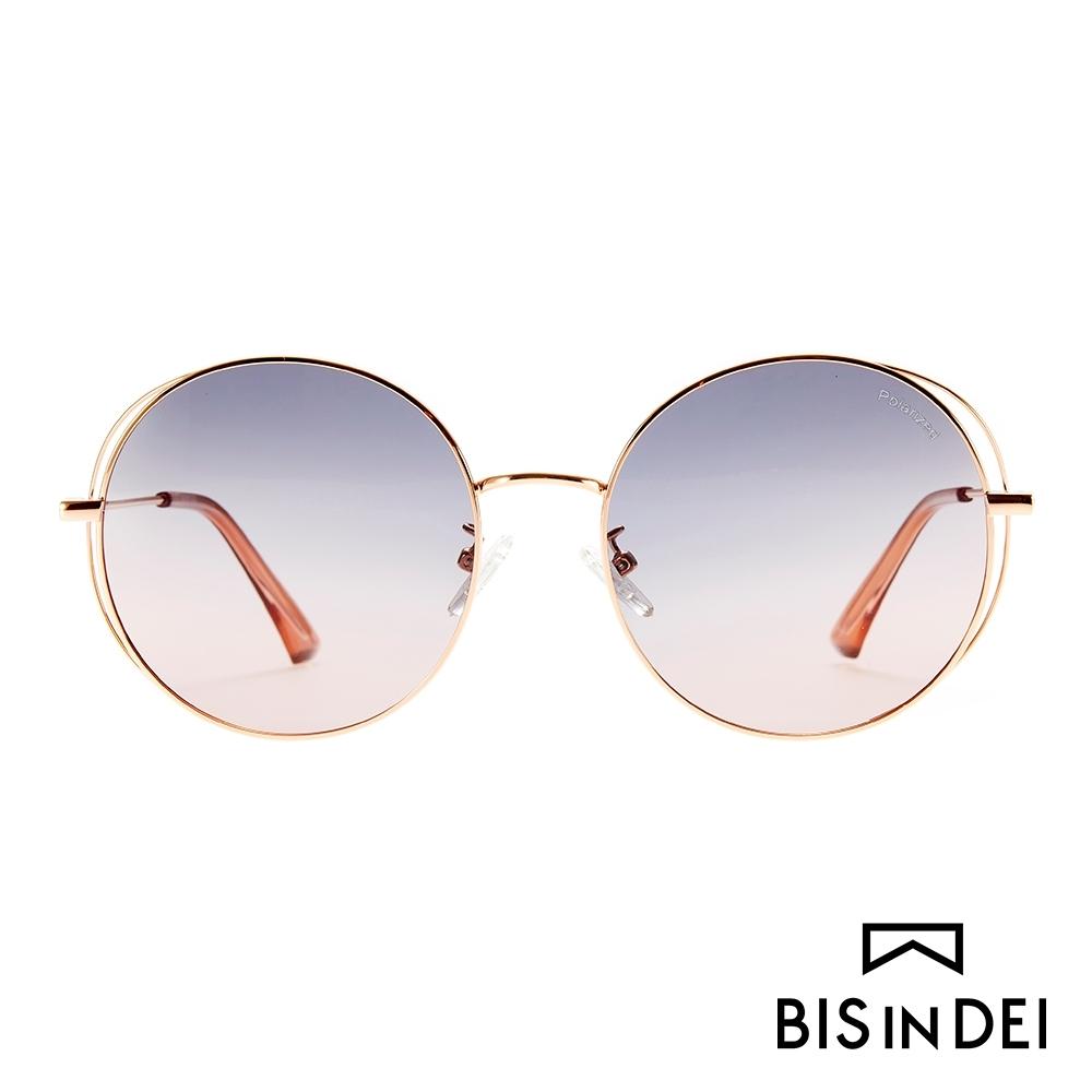 BIS IN DEI 幾何線條圓框太陽眼鏡-灰