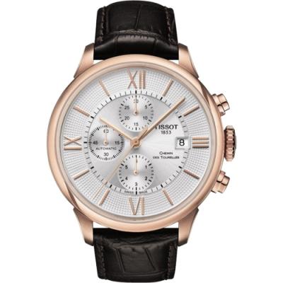 TISSOT 杜魯爾系列機械計時腕錶-玫瑰金框x咖啡/44mm