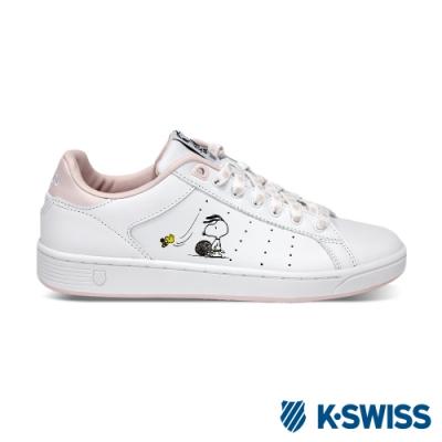 K-SWISS Clean Court CMF史努比聯名休閒運動鞋-女-白/粉
