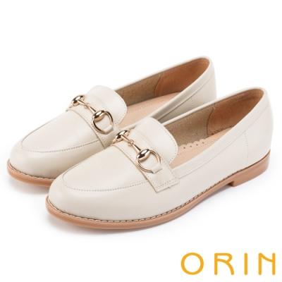 ORIN 女紳時尚 牛皮馬銜釦樂福鞋-米色