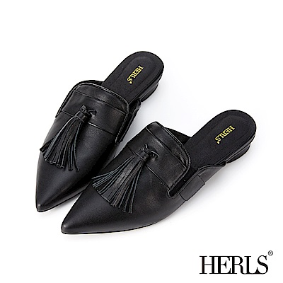 HERLS 時髦簡約 全真皮大流蘇尖頭穆勒鞋-黑色