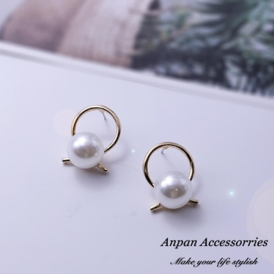 【Anpan 愛扮】韓東大門INS風復古交叉珍珠耳釘式耳環