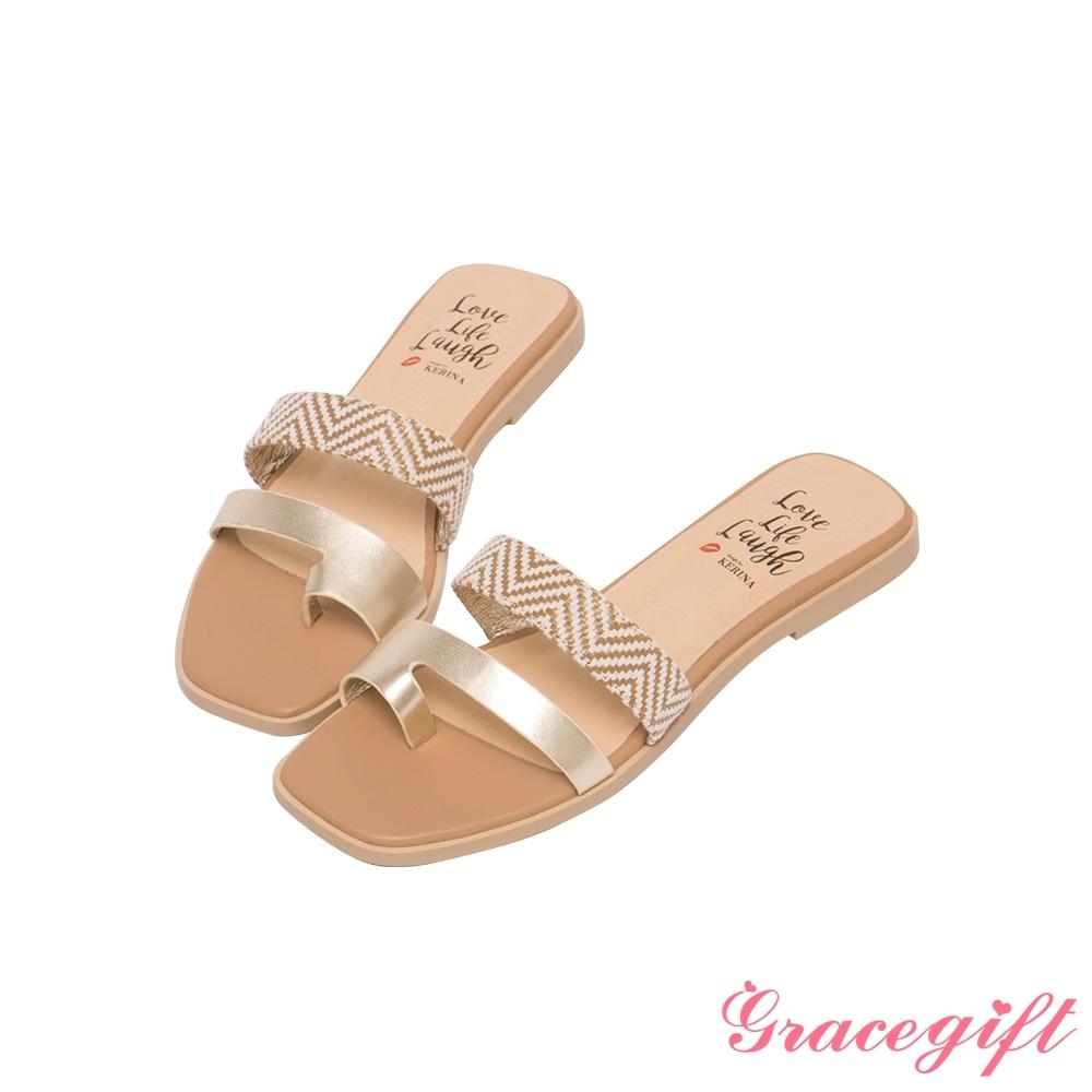 Grace gift X Kerina-聯名雙帶套趾平底涼拖鞋 金