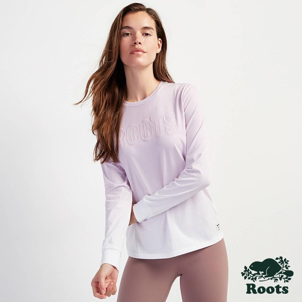 Roots女裝-城市悠遊系列 漸層長袖T恤-淺紫色