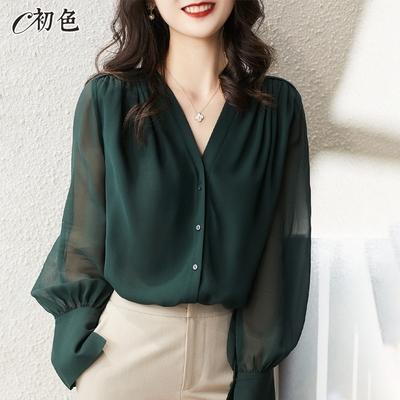 初色  優雅透膚V領襯衫-共2色-(M-2XL可選)