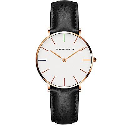 HANNAH MARTIN 彩色刻度皮帶腕錶-黑帶x36mm(HM3690-B36-FH)