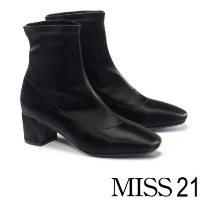 短靴 MISS 21 簡潔質感純色方頭粗跟短靴-黑