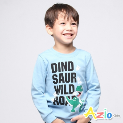 Azio Kids 男童 上衣 英文字母恐龍腳印運動T恤(藍)