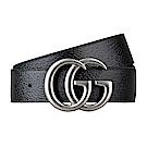 GUCCI經典雙G金屬LOGO牛皮銀扣皮帶(黑)