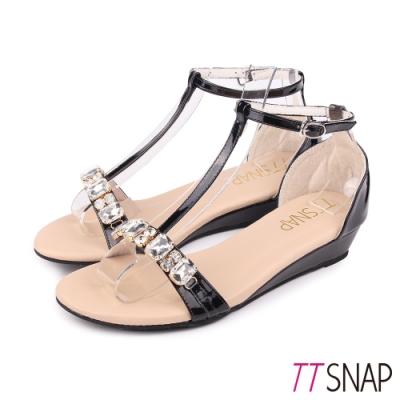 TTSNAP楔型涼鞋-Bling水鑽T字中跟涼鞋 黑