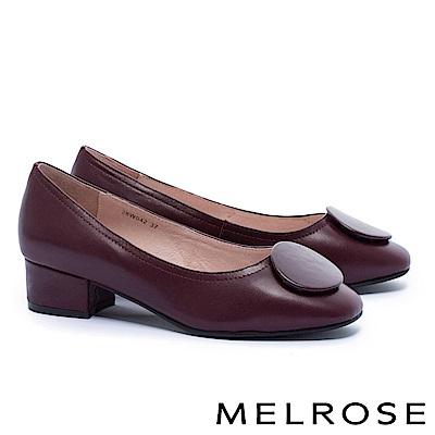 高跟鞋 MELROSE 復古典雅質感圓釦羊皮方頭粗跟高跟鞋-紅