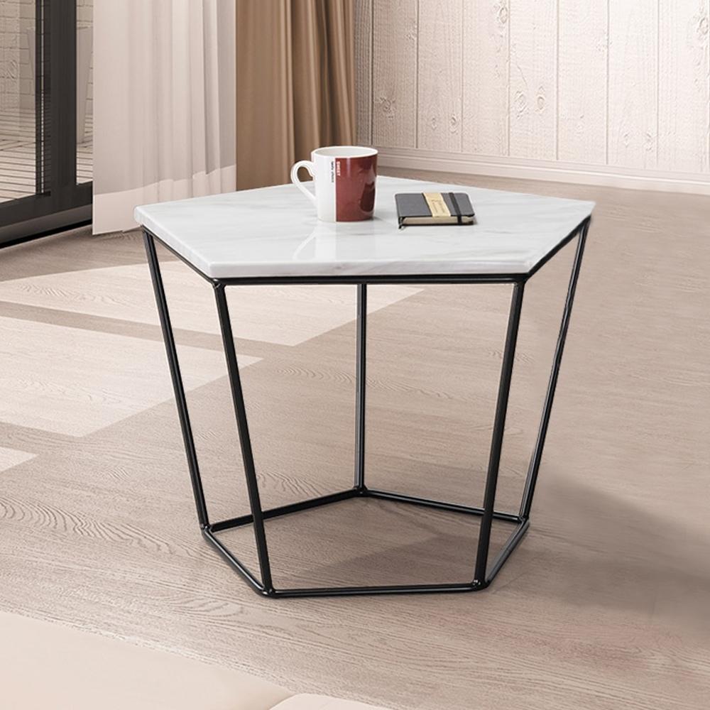 Boden-菲斯1.8尺石面五角小茶几/邊桌-白色-55x55x42cm
