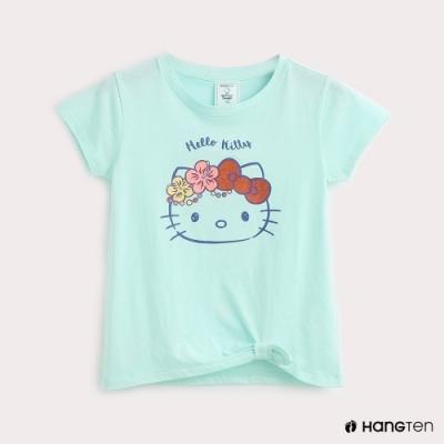 Hang Ten-童裝-Sanrio-Hello Kitty下擺扭結印花T恤-綠