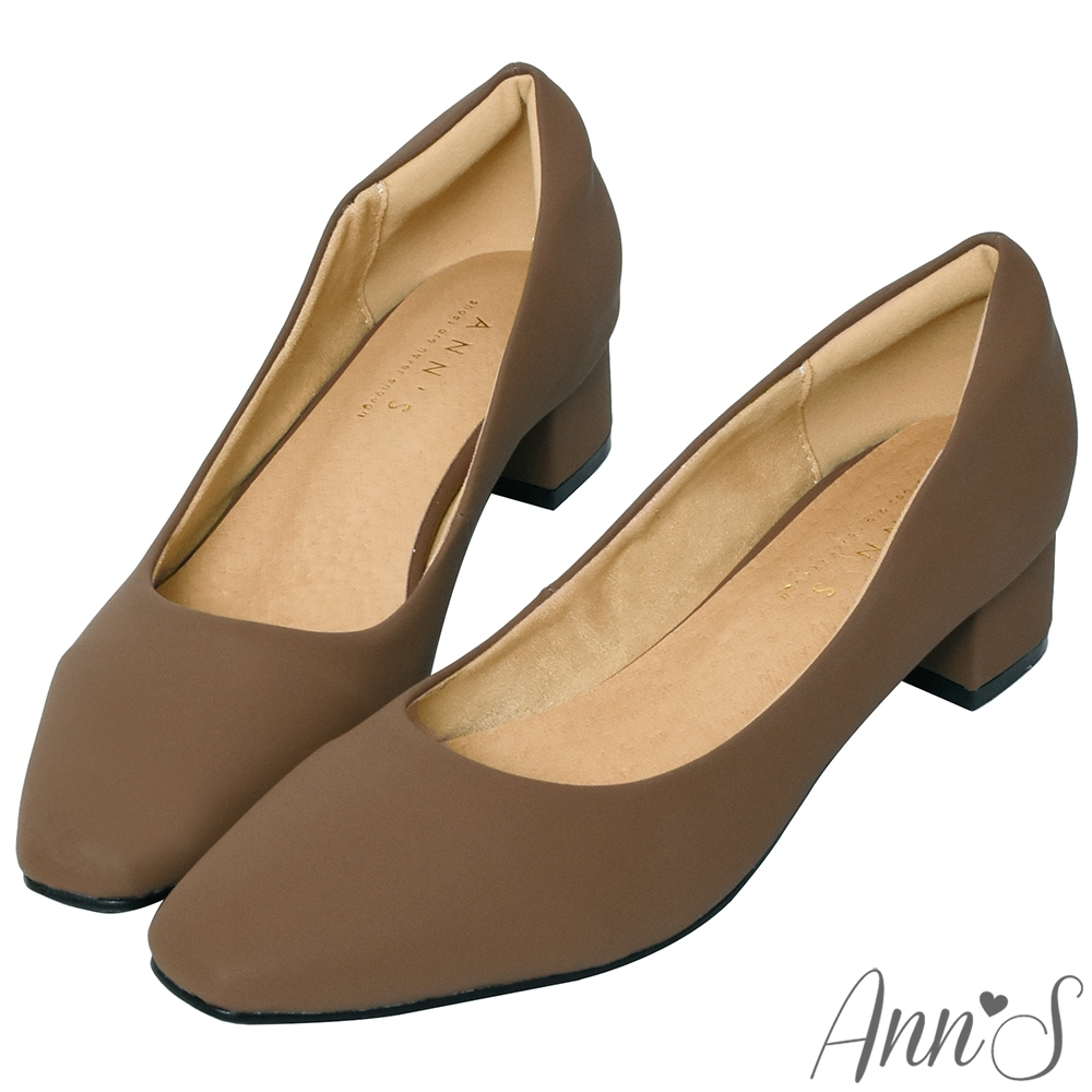 Ann'S真的很舒服-霧面皮革粗跟小方頭鞋-咖