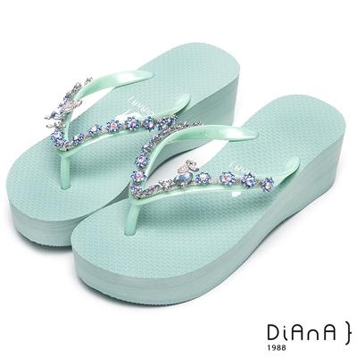 DIANA 清新甜美--粉嫩系耀眼小花鑽飾涼拖鞋-薄荷綠