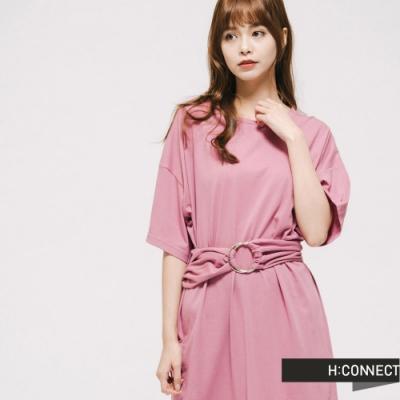 H:CONNECT 韓國品牌 女裝 -圓環腰帶設計洋裝-粉