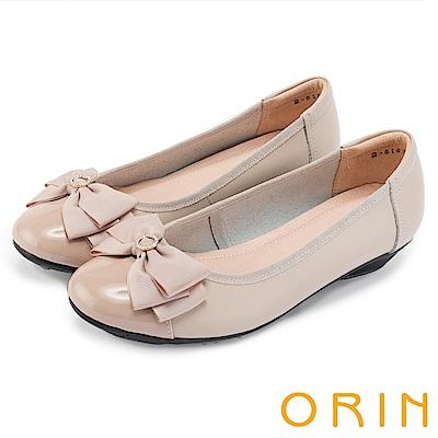 ORIN 甜美輕柔 織帶蝴蝶結真皮娃娃鞋-粉色