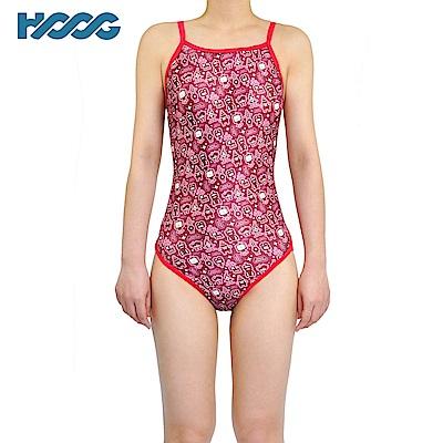 韓國HOOG 連身低開叉泳裝 粉色