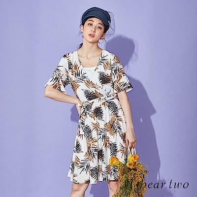 beartwo 渡假印花V領綁帶洋裝(淺白色)