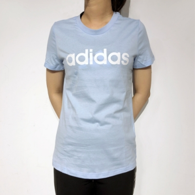 ADIDAS W E LIN SLIM T女短袖上衣 淺藍