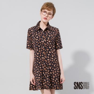 SNS 不羈豹紋襯衫領短袖洋裝(<b>2</b>色)