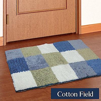 棉花田 曼哈頓 純棉雙面方格踏墊-藍(45x70cm)