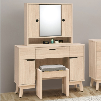 Homelike 路思3.3尺化妝桌椅/旋轉鏡-免組裝