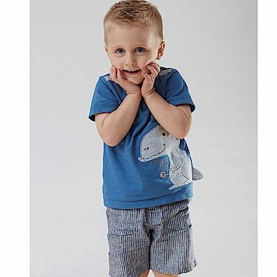 PIPPY 條紋舒適反折短褲 藍