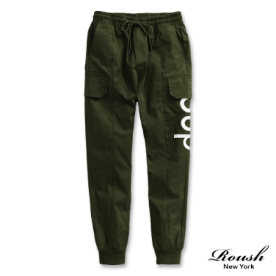 Roush SUP立體繡花雙口袋工裝長褲(2色)