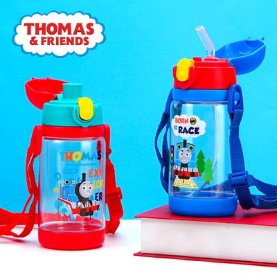 【優貝選】男孩最愛卡通明星 湯瑪士 THOMAS 兒童 吸管式/直飲式 兩用背帶水壺520ML