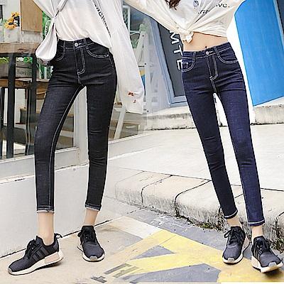 高腰簡約清純風小腳牛仔褲S-XL(共二色)-WHATDAY
