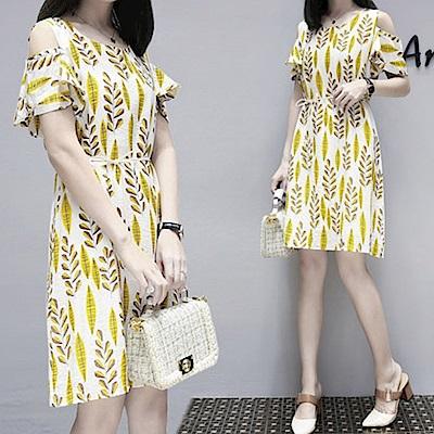中大尺碼滿版黃色葉子印花露肩洋裝附珍珠綁帶XL~4L-Ballet Dolly