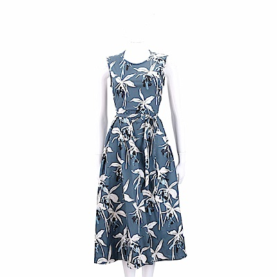 Max Mara-'S Max Mara 印花繫帶藍灰色無袖洋裝