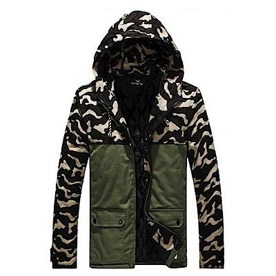 BuyGlasses 連帽迷彩長版保暖禦寒外套