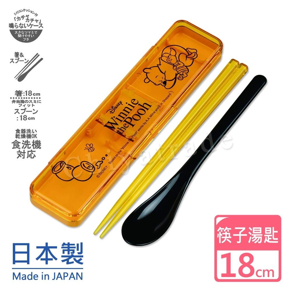 迪士尼Disney 日本製小熊維尼環保筷子+湯匙組18CM