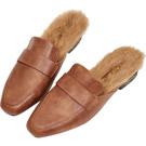 AIR SPACE 質感皮革絨毛穆勒鞋(棕)