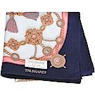 TRUSSARDI 優雅品牌流蘇串鍊圖騰LOGO大帕領巾(深藍系)