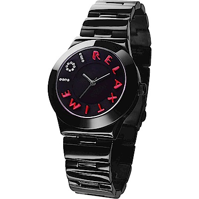 RELAX TIME 101獨家設計品牌手錶-IP黑x桃紅時標/38mm